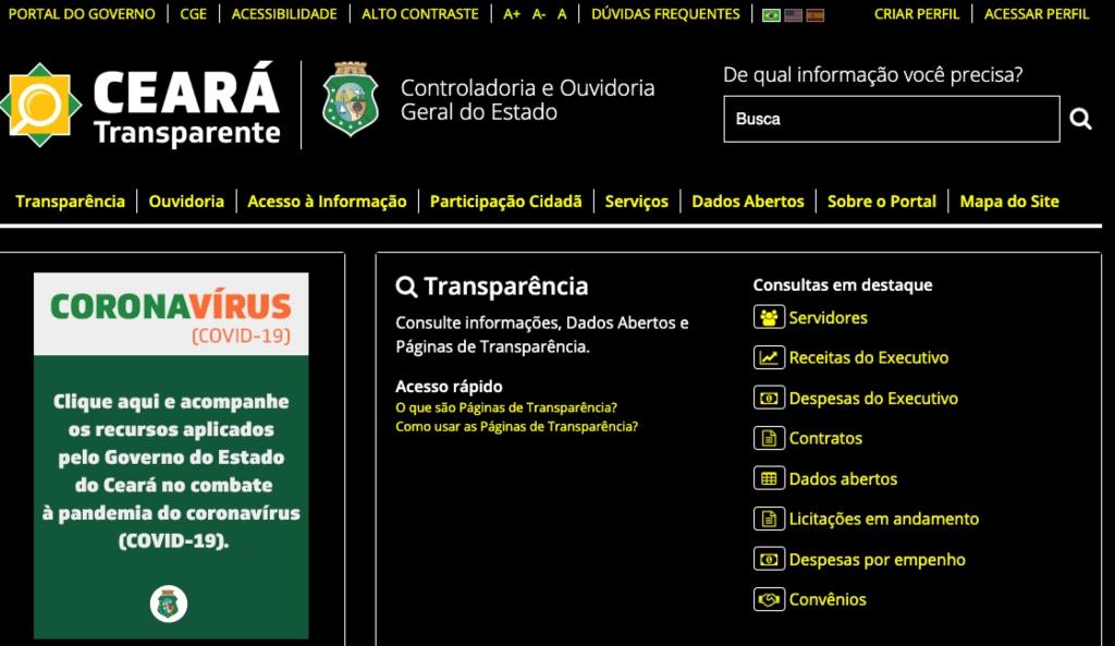 Print da tela do site Ceará Transparente