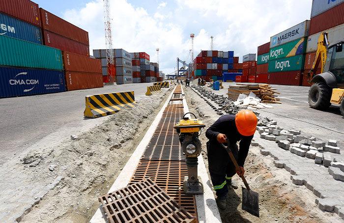 obras no hub portuário