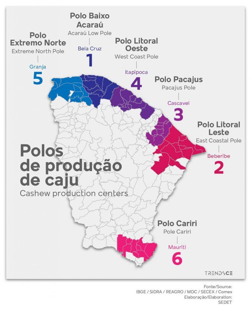 Polos de produção do Cajú